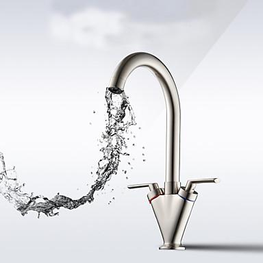 Kitchen Faucet - Nykyaikainen Harjattu nikkeli Standard nokka Integroitu / Kaksi kahvaa yksi reikä