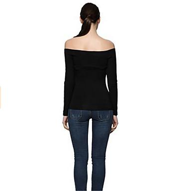 2016新しい女性のセクシーなストラップレス長袖Tシャツの襟シャツ