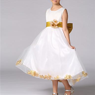 Χαμηλού Κόστους Ρούχα για Κορίτσια-Παιδιά Κοριτσίστικα Λουλουδάτο Φιόγκος Καθημερινά Εξόδου Μονόχρωμο Φλοράλ Αμάνικο Πολυεστέρας Φόρεμα Χρυσό