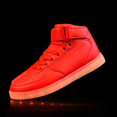 Hombre Iluminar los zapatos PU Otoño / Invierno Confort Zapatillas de Atletismo Antideslizante Dorado / Plateado / Rojo