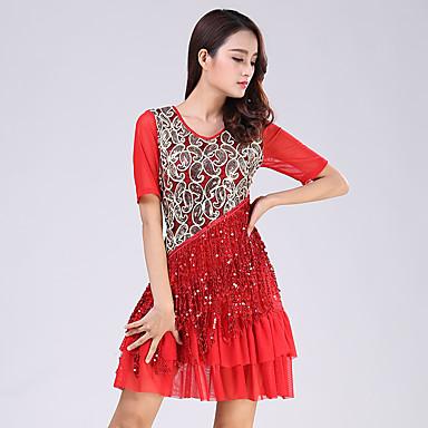 Latin Dans Kjoler Dame Ytelse Polyester Paljetter Paljett Kort Erme Naturlig Kjole