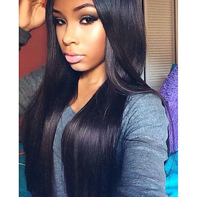 Aidot hiukset Lace Front / Liimaton puoliverkko Peruukki Suora 120% Tiheys Luonnollinen hiusviiva / Afro-amerikkalainen peruukki / 100% käsinsidottu Naisten Lyhyt / Keskikokoinen / Pitkä