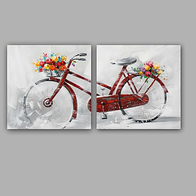 手描きの 抽象画 抽象的な風景画 近代の 欧風 キャンバス ハング塗装油絵 ホームデコレーション 2枚