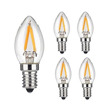 5pcs 2W 180lm E12 LED-hehkulamput 2 LED-helmet COB Himmennettävissä Koristeltu Lämmin valkoinen 110-130V