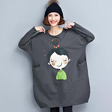 lihapullia pää tyttö löysä, rento puuvilla pitkä t-paita art hame