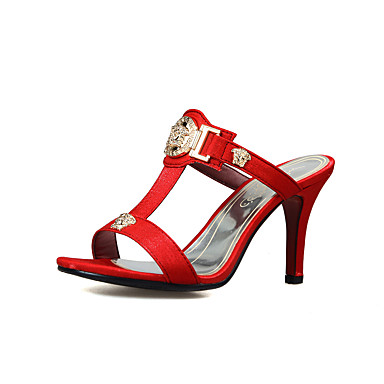 cheap Featured Deals-Women's Slippers & Flip-Flops Stiletto Heel Open Toe PU(Polyurethane) Comfort / Slingback Walking Shoes Summer Beige / Gray / Red / Party & Evening / Party & Evening