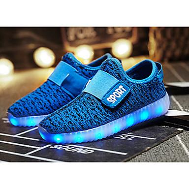 baratos LED Sapatos-Para Meninos Tricô Tênis Little Kids (4-7 anos) / Big Kids (7 anos +) Conforto / Tênis com LED LED Verde / Rosa empoeirada / Laranja Outono / TR
