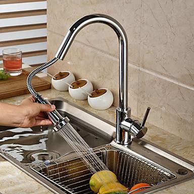 Moderne Art déco/Retro Modern Pull-out / Pull-down Becken Verbreitete Mit ausziehbarer Brause drehbar Keramisches Ventil Einhand Ein Loch