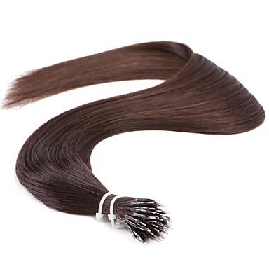 Micro Ring Hair Extensions Human Hair Extensions Human Hair Straight Women's Daily