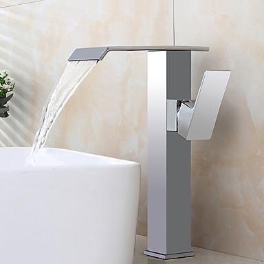 Moderne Art Deco/Retro Centersat Forskyll Foss Utbredt Keramisk Ventil Enkelt håndtak To Huller Krom, Baderom Sink Tappekran