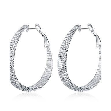 Dame Sølvplett Store Øreringer / Øredobb - Mote Sølv Sirkelformet / Geometrisk Form øredobber Til Bryllup / Fest / Daglig