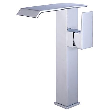 Moderne Art déco/Retro Modern Mittellage Wasserfall Keramisches Ventil Ein Loch Einhand Ein Loch Chrom , Waschbecken Wasserhahn