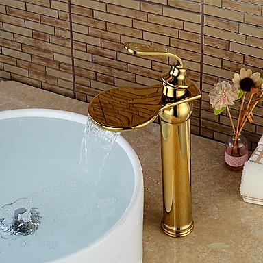 Nykyaikainen Integroitu Vesiputous Keraaminen venttiili Yksi kahva yksi reikä Ti-PVD , Kylpyhuone Sink hana