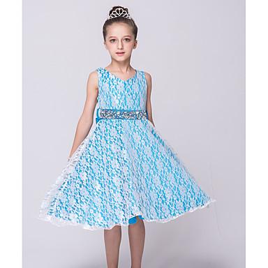 Χαμηλού Κόστους Ρούχα για Κορίτσια-Παιδιά Κοριτσίστικα Εξόδου Μονόχρωμο Αμάνικο Πολυεστέρας Φόρεμα Μπλε