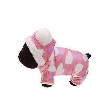 Hund Hettegensere Kjeledresser Hundeklær Blomster / botanikk Rosa Flannelstoff Kostume For kjæledyr Herre Dame Hold Varm Sport