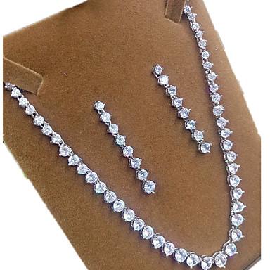 Mujer Zirconia Cúbica Conjunto de joyas - Zirconio, Zirconia Cúbica Corona Incluir Plata Forma de Corona Para Fiesta / Pendientes / Collare