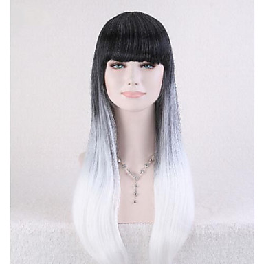 2015 New Arrival Lolita Gradient Black+Gray Wig Women Long Straight Ombre Hair Cosplay Anime Full Wig