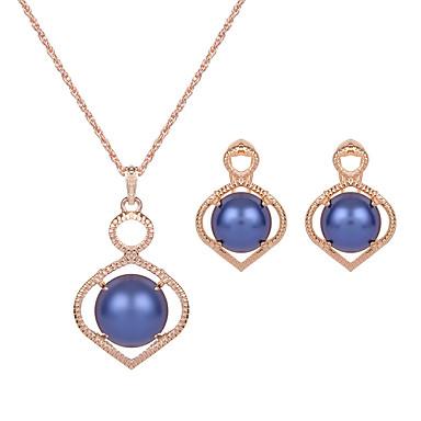 Imitierte Perlen Imitation Rubin Künstliche Perle Aleación Weiß Rose Blau 1 Paar Ohrringe Halsketten Für Hochzeit Party 1 Set