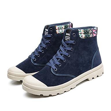 Miesten kengät PU Kevät Syksy Maiharit Comfort Bootsit Kävely Solmittavat varten Kausaliteetti Musta Punainen Sininen