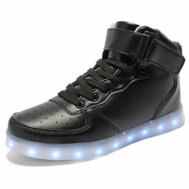 Unisex Kengät PU Kevät Syksy Comfort Uutuus Välkkyvät kengät Lenkkitossut Tasapohja Pyöreä kärkinen Solmittavat Tarranauhalla LED varten