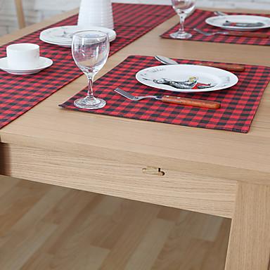 Neliö Painettu Gingham Placemats , Cotton Blend materiaali Taulukko Dceoration Hotel ruokapöytä
