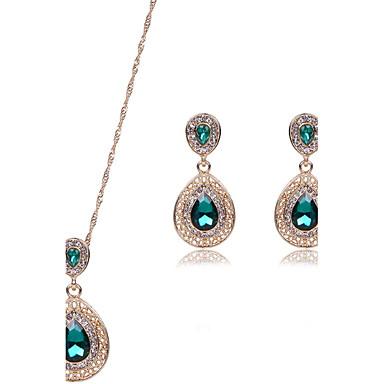 Damen Synthetischer Rubin Hochzeit Party Strass Aleación 1 Paar Ohrringe Halsketten