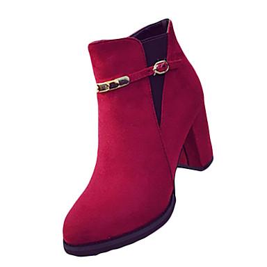 Damen Stiefel Komfort Springerstiefel PU Herbst Winter Normal Komfort Springerstiefel Reißverschluss Blockabsatz Schwarz Rot 10 - 12 cm