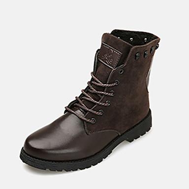 Herre Combat-boots Fleece / PU Høst / Vinter Komfort Støvler Svart / Blå / Mørkebrun