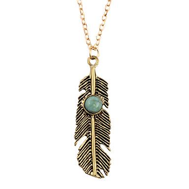 Modische Halsketten Kubikzirkonia Anhängerketten Schmuck Alltag Blattform Natur Aleación Damen 1 Stück Geschenk Goldfarben