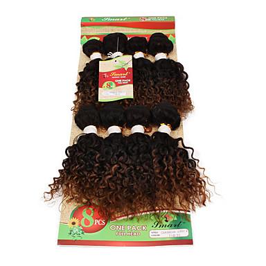 voordelige Weaves van echt haar-Ombre Gekruld Curly Weave Synthetisch haar Echt haar 8 inch(es) Haarextensies Blond Kastanjebruin 1 Stuk Dames