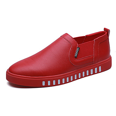 Herren-Loafers & Slip-Ons-Outddor Büro Lässig-Leder Wildleder-Flacher Absatz-Komfort-Schwarz Rot Weiß Khaki