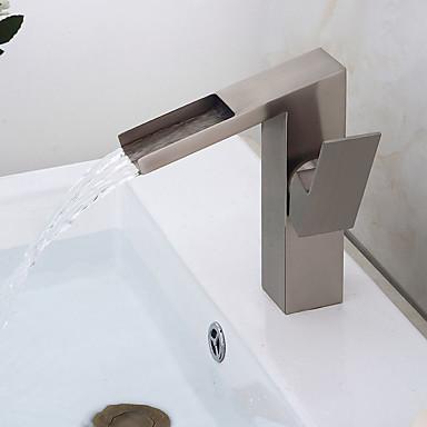 バスルームのシンクの蛇口 - プレリンス / 滝状吐水タイプ / 組み合わせ式 ブラッシュドニッケル センターセット シングルハンドル二つの穴