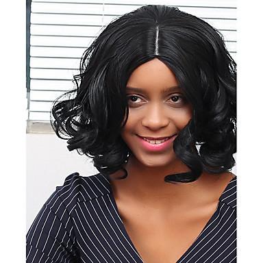 Synteettiset hiukset Peruukit Laineita Suojuksettomat Luonnollinen peruukki Musta