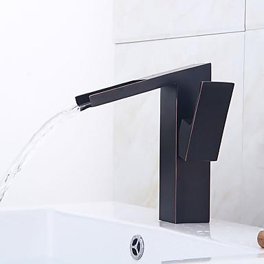 Moderne Art déco/Retro Modern Mittellage Vorspülung Wasserfall Verbreitete Keramisches Ventil Einzigen Handgriff Zwei Löcher Öl-riebe