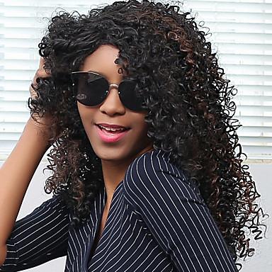 Synteettiset hiukset Peruukit Afro Kihara Sivuosa Suojuksettomat Luonnollinen peruukki Musta