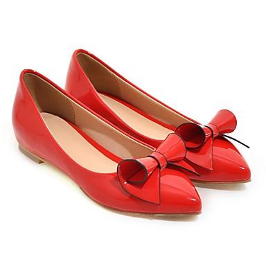 Marche Femme compensée Rouge Noir Rose de Similicuir 05775694 pointu Bout Hauteur Chaussures Noeud Ballerines Eté semelle Printemps Confort YqY6rpv