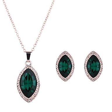 Damen Schmuckset Synthetischer Smaragd Hochzeit Party Alltag Normal Krystall Aleación 1 Paar Ohrringe Halsketten