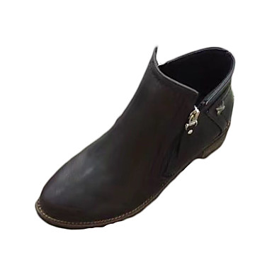 Damen-Stiefel-Lässig-PU-Niedriger Absatz-Komfort-Schwarz Braun
