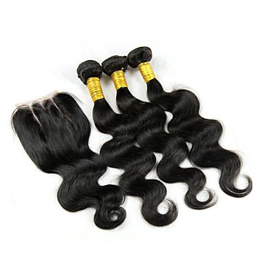 4 Stück Große Wellen Menschliches Haar Webarten Brasilianisches Haar 350g 8-30inch Haarverlängerungen