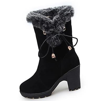 Damen Stiefel Komfort Springerstiefel PU Herbst Winter Normal Komfort Springerstiefel Blockabsatz Schwarz Rot 10 - 12 cm
