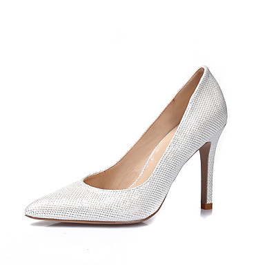 best website 190a0 6ece1 Women s Party Heels Glitter   Leatherette Spring   Summer Heels Stiletto  Heel Pointed Toe   Closed Toe White   Black   Silver   Wedding   Party    Evening
