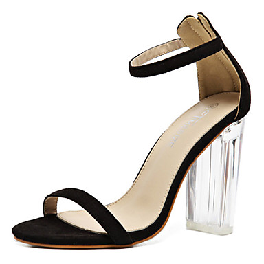 Damen-Sandalen-Outddor Kleid Party & Festivität-Gummi-Blockabsatz-Komfort Neuheit-Schwarz Mandelfarben
