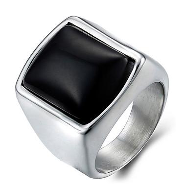 Herre Onyks Statement Ring Ring - Titanium Stål Mote 7 / 8 / 9 / 10 / 11 Sølv Til Daglig Avslappet