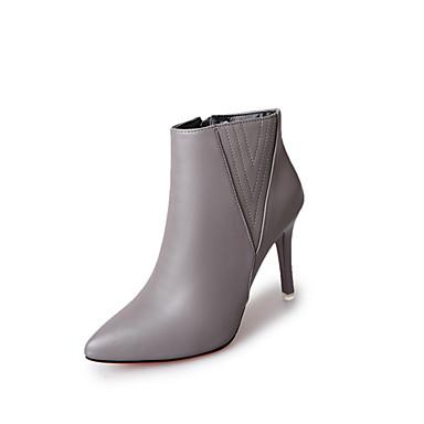 Damen-Stiefel-Lässig-PU-Niedriger Absatz-Komfort-Schwarz Grau