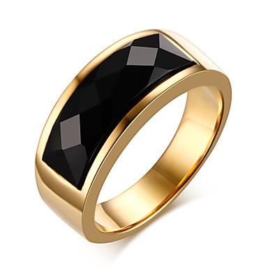 Herre Onyks Statement Ring Ring - Titanium Stål Vintage, Mote 7 / 8 / 9 / 10 / 11 Gull Til Daglig Avslappet