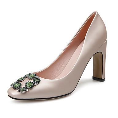 Damen Schuhe PU Frühling Sommer Herbst High Heels Blockabsatz Quadratischer Zeh Kristall für Normal Kleid Grün Mandelfarben