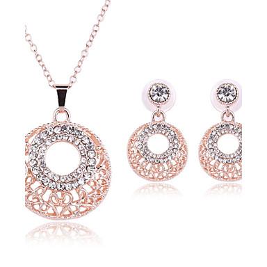 Strass Strass Aleación Kreisform Geometrische Form Gold 1 Paar Ohrringe Halsketten Für Hochzeit Party Alltag Normal 1 Set