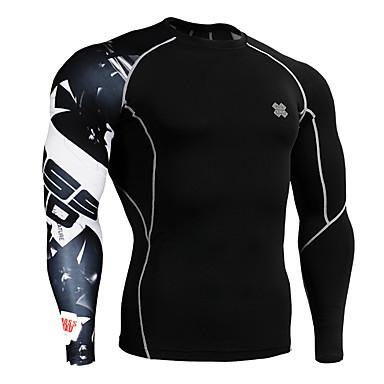男性用 ランニングTシャツ 長袖 速乾性 高通気性 トップス のために エクササイズ&フィットネス ランニング スパンデックス タイト ブラック M L XL XXL XXXL