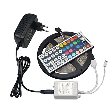 Lyssett 300 LED RGB Fjernkontroll Kuttbar Mulighet for demping Vanntett Fargeskiftende Selvklebende Passer for kjøretøy Koblingsbar