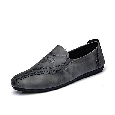 Herren-Loafers & Slip-Ons-Büro Lässig Party & Festivität-PU-Flacher Absatz-Komfort-Schwarz Braun Grau